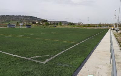 The works of installation of reused artificial grass, from the Espirall football field, and recently renovated with our high-quality product Warrior 60/180, have been finished